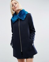 Asos Faux Fur Collar In Bright Blue