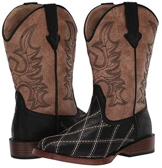 Roper Cross Cut (Toddler/Little Kid) (Black Patchwork Vamp/Tan Shaft) Cowboy Boots