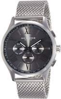 Akribos XXIV Men's AK844SSB Round Black Radiant Sunburst Dial Two Time Zone Quartz Stainless Steel Bracelet Watch