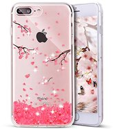 iPhone 7 Plus Case, PHEZEN iPhone 7 Plus TPU Case Luxury Bling Diamond Crystal Clear Soft TPU Silicone Back Cover with Cute Pattern for 5.5 inch iPhone 7 Plus, Cherry blossoms