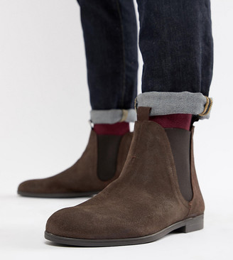 H By Hudson Wide Fit Atherston chelsea boots in brown suede