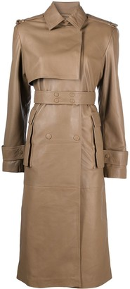 REMAIN Double-Breasted Belted Leather Coat