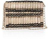 Nancy Gonzalez Samurai Woven Stripe Crocodile Double-Chain Shoulder Bag