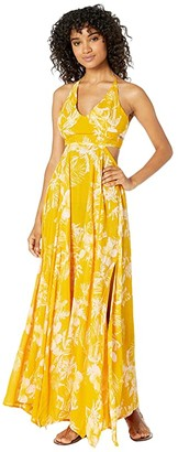 Free People Lille Printed Maxi (Yellow) Women's Dress