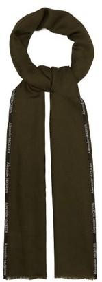Alexander McQueen Logo-jacquard Cashmere And Silk-blend Scarf - Mens - Dark Green