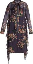 Rochas Daisy-print tie-neck silk-chiffon dress