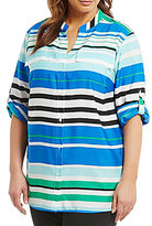 Calvin Klein Plus Roll-Tab Sleeve Button Front Blouse