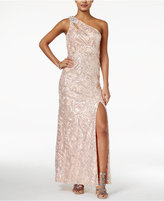 As U Wish Juniors' One-Shoulder Sequined Gown