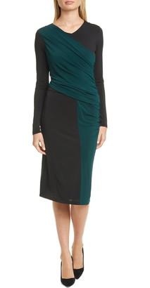 BOSS Eretha Colorblock Long Sleeve Jersey Dress