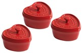 "Staub Round Mini 4"" Heart Cocotte, Set of 3"