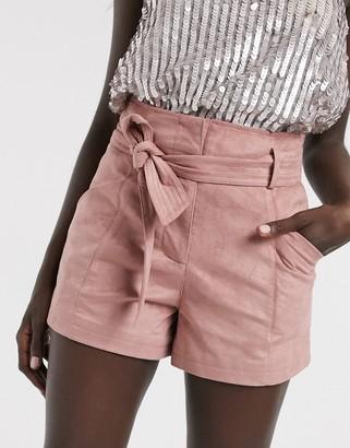 Morgan tie front faux suede short in pink