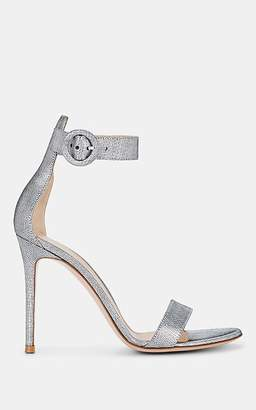 Gianvito Rossi Women's Portofino Leather Ankle-Strap Sandals - Silver