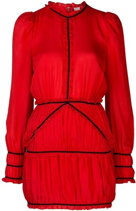 Fleur Du Mal Contrast Piping Silk Dress