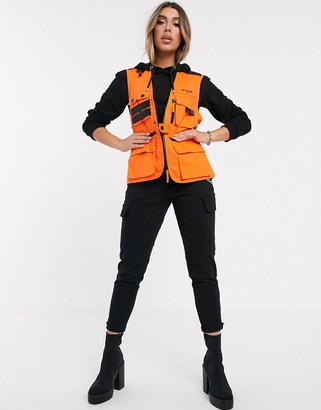 Sixth June utility vest with hardware detail and front logo-Orange