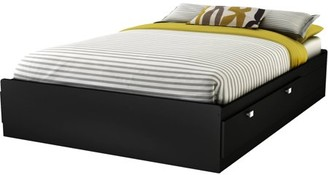South Shore Spark 4-Drawer Storage Bed, Full, Black, Without Bookcase Headboard