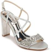 Badgley Mischka Carolyn II Embellished Suede Block-Heel Evening Sandals