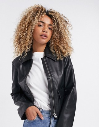 Weekday Taxi faux leather boxy jacket in black