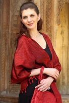 Banarasi silk shawl, 'Ruby Sunset'