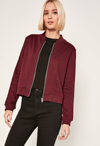 Missguided Burgundy Petite Jersey Bomber Jacket