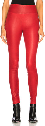 Sprwmn High Waist Leather Ankle Legging in Red | FWRD