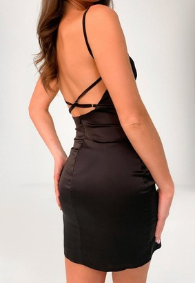 Missguided Black Satin Cross Back Mini Dress