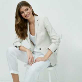 The White Company Blazer with Linen, Natural, 6
