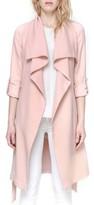 Soia & Kyo Women's Roll Sleeve Drape Front Long Trench Coat