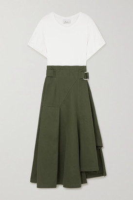 3.1 Phillip Lim Space For Giants Belted Pleated Organic Cotton-jersey And Twill Midi Dress - Army green