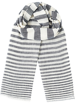 Jigsaw Stripe Cotton Linen Scarf, Blue