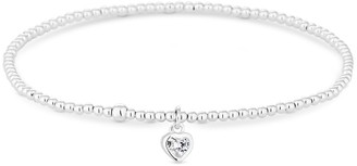 Simply Silver Sterling Silver 925 Heart Stretch Bracelet