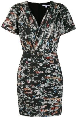Derek Lam 10 Crosby Cap Sleeve Wallpaper Floral Fitted Dress