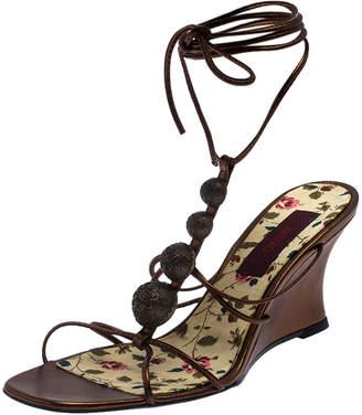 Kenzo Metallic Bronze Leather Embellished Ankle Wrap Wedge Sandals Size 38
