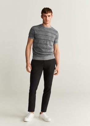 MANGO MAN - Striped jersey T-shirt medium heather grey - M - Men