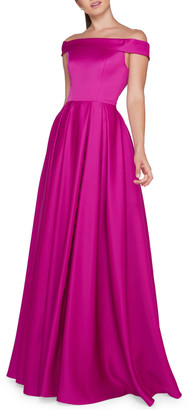 Mac Duggal Off-the-Shoulder Short-Sleeve A-Line Mikado Gown