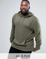 Asos PLUS Longline Hoodie with Side Zips in Khaki