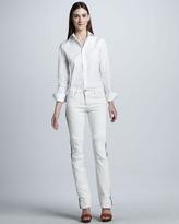 Ralph Lauren Black Label Leather-Stripe Biker Jeans, Plate White