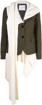 Sacai knit panelled blazer jacket