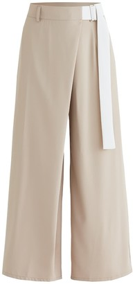 BEIGE Bloomsbury Wrap Wide Leg Trousers In