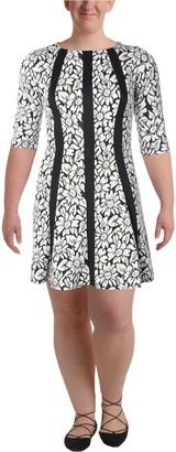 Gabby Skye Women's Elbow Sleeved Striped Floral Dress