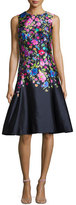 Oscar de la Renta Sleeveless Floral-Print Sateen Dress, Navy/Multi