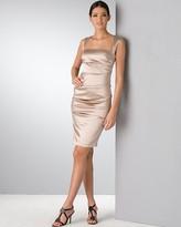 exposed zipper satin cocktail dress
