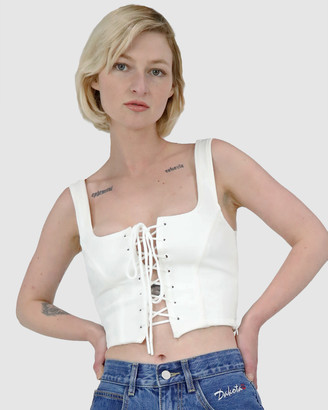Dakota501 - Women's White Evening Tops - Lace Up Rib Bustier - Size One Size, 6 at The Iconic
