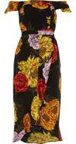 River Island Womens Black floral print bardot wrap midi dress