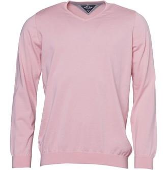adidas Mens adiPure Refined Golf V-neck Sweater True Pink