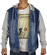 PHOENISING PHEONSING Men's Fleece Sleeve Detachable Hood Light Weight Denim Jacket