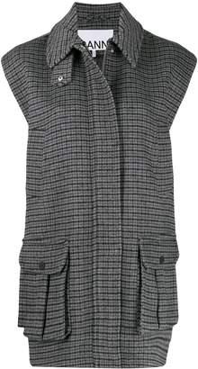 Ganni check long-line waistcoat
