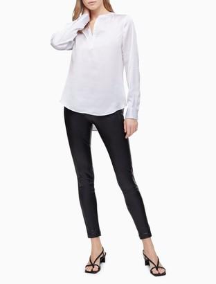 Calvin Klein Solid Woven V-Neck Shirt