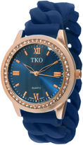 JCPenney TKO ORLOGI Womens Crystal-Accent Chain-Link Blue Silicone Strap Stretch Watch