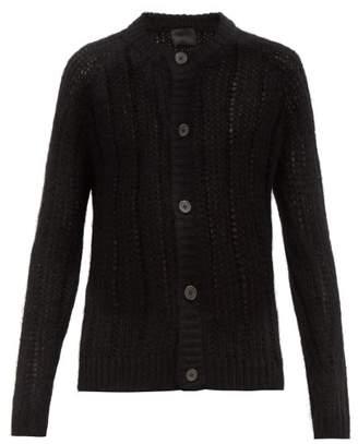 Prada Longline Mohair Blend Cardigan - Mens - Black