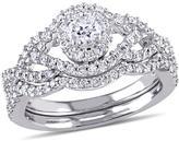 Ice Julie Leah 1 CT TW Diamond 14K White Gold Vintage Style Cluster Wave Bridal Set